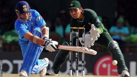 India's Sachin Tendulkar and Pakistan's Kamran Akmal