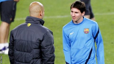 Barcelona boss Pep Guardiola and star player Lionel Messi