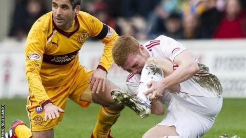 Fraser Fyvie feels the effects of a late tackle from Keith Lasley.