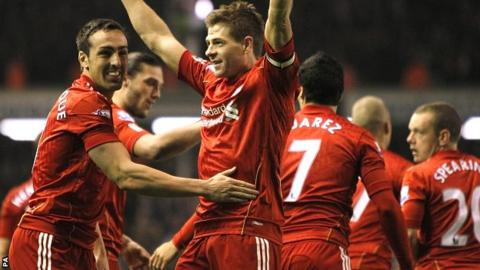 Steven Gerrard celebrates scoring for Liverpool