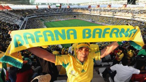 A South Africa supporter in Nelspruit's Mbombela Stadium