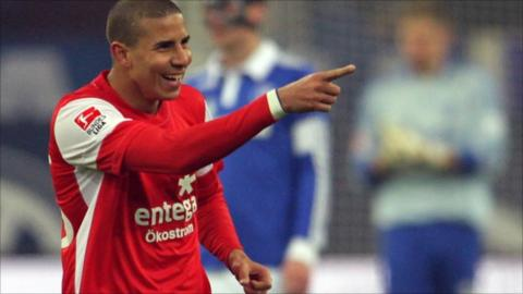 Mainz striker Mohamed Zidan celebrates one of the six goals he has scored since rejoining the club