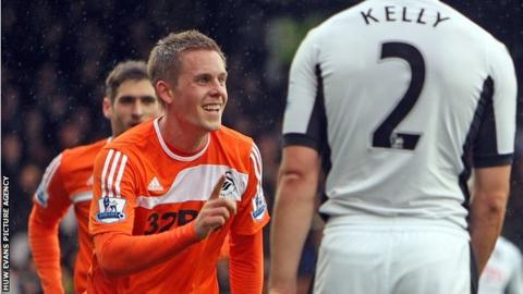 Gylfi Sigurdsson celebrates his goal for Swansea