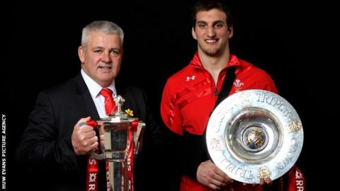 Gatland and Warburton with the Six Nations silverware