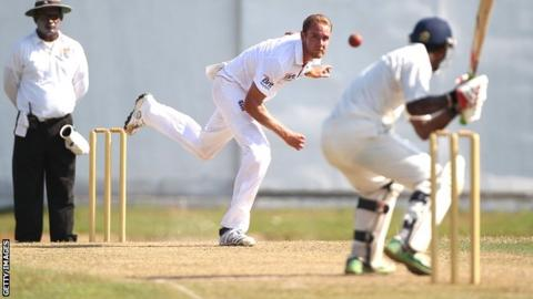 Stuart Broad bowls against a Sri Lankan Development XI