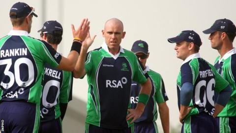 Trent Johnston (centre) was among the wickets as Ireland clinched a comprehensive victory