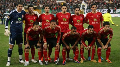 Al Ahly line up before their ill-fated game against al-Masry on 1 February
