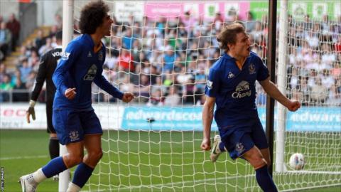 Nikica Jelavic scores for Everton