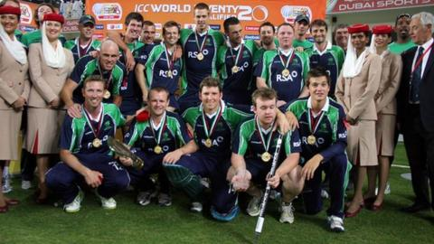 Ireland celebrate their win at the World Twenty20 qualifying event