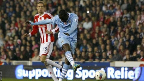 Manchester City's Yaya Toure scores their equaliser