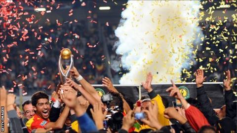 Tunisian club Esperance lifting the African Champions League trophy