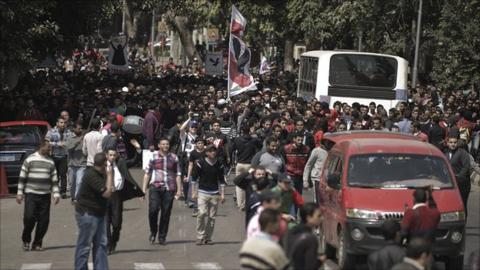 Al Ahly fans took to the streets of Cairo on Sunday to protest against the EFA decision