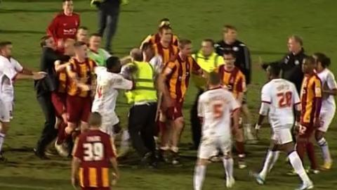 Bradford and Crawley players post-match brawl