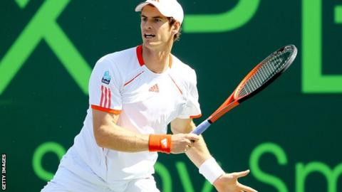 Andy Murray in action against Janko Tipsarevic