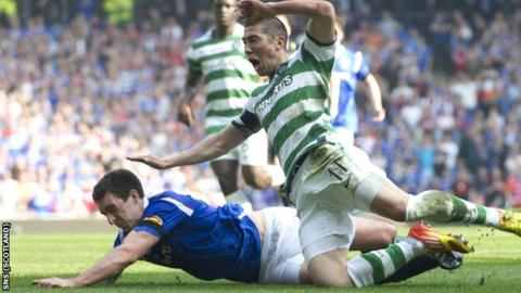 Celtic defender Cha Du-Ri was shown a red card for his challenge on Lee Wallace