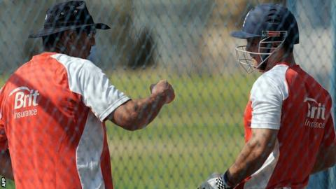 Graham Gooch with England captain Andrew Strauss in the nets