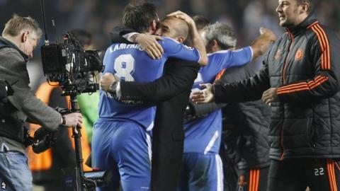 Chelsea midfielder Frank Lampard and manager Roberto di Matteo