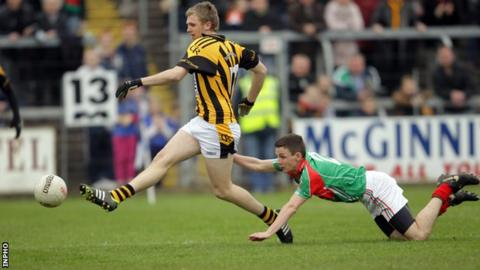 Francis Hanratty hammers in Crossmaglen's first goal at Breffni Park