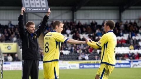 Kelly comes on for Fowler near the end of the game in Paisley