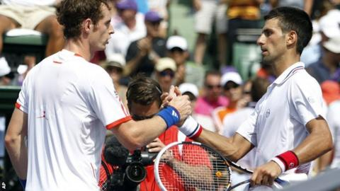 Andy Murray congratulates Novak Djokovic