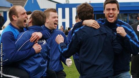 Dunston staff and players celebrate reaching the FA Vase final