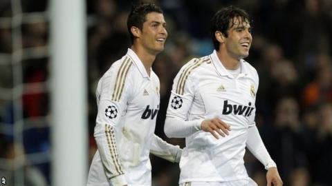 Real Madrid's Cristiano Ronaldo and Kaka