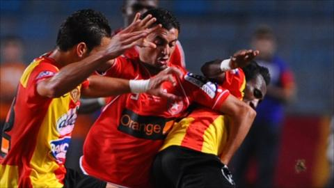 Lassad Jaziri (centre) grabbed a crucial double for Etoile