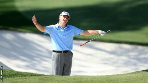 Lawrie shows his frustration on the final day at the Masters