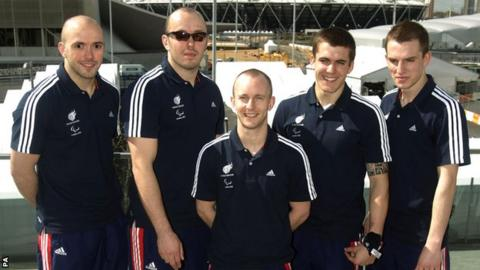 "Great Britain""s Paralympics Judo team Sam Ingram, Joe Ingram, Ben Quilter, Dan Powell and Marc Powell"