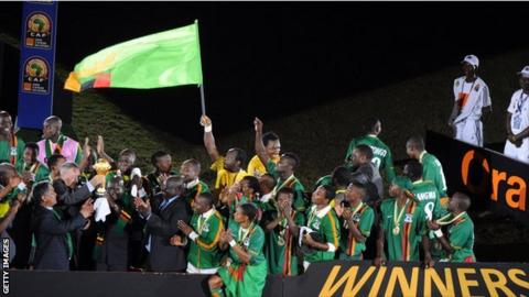 Zambia celebrating winning the 2012 Africa Cup of Nations