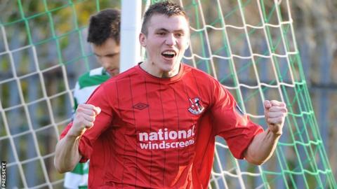 Stuart Dallas celebrated after scoring a Crusaders goal this season