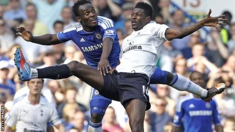 Michael Essien and Emmanuel Adebayor