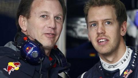 Red Bull principal Christian Horner and driver Sebastian Vettel