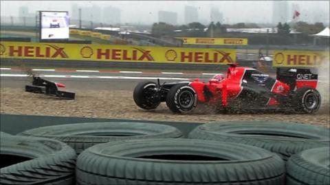 Timo Glock crashes at Turn One