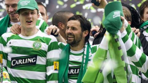Hartley (right) celebrates his 2007 Scottish Cup final win with Celtic