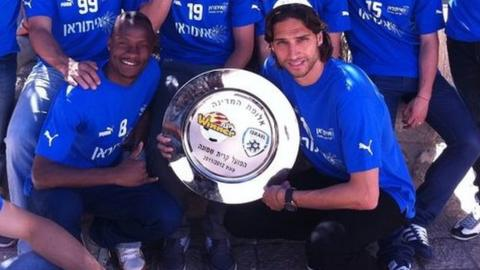 Zambia's William Njobvu with the Isreali league championship trophy