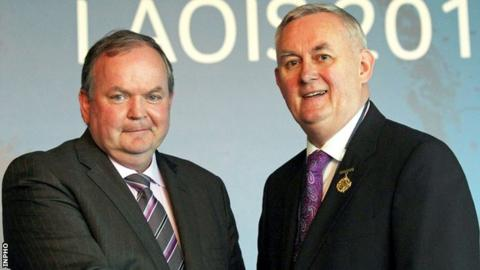 Liam O'Neill took over the GAA presidency from Christy Cooney on Saturday