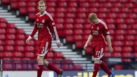 Aberdeen troop off Hampden Park after their defeat by Hibs