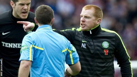 Lennon shows his anger at referee Norris at the end of the semi-final at Hampden
