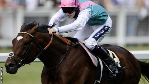 Champion racehorse Frankel with rider Tom Queally at The St James's Palace Stakes at Ascot racecourse