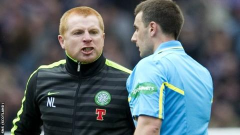 Celtic manager Neil Lennon (left) makes his feelings known to referee Euan Norris after the semi-final loss to Hearts