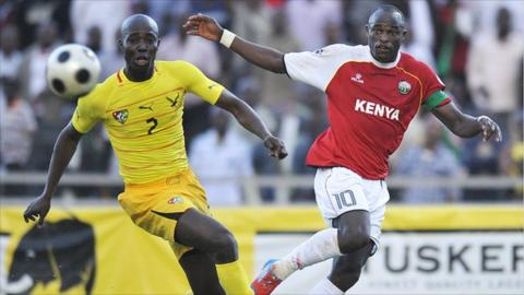 Kenya captain Dennis Oliech (right)