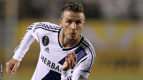 David Beckham in action for LA Galaxy on 14 April