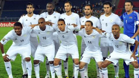 The Libya team before playing Senegal at the 2012 Africa Cup of Nations.
