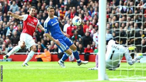 Robin van Persie sees a shot saved by Petr Cech