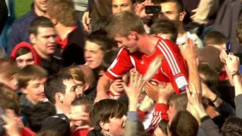 Bristol City fans lift Jon Stead to their shoulders
