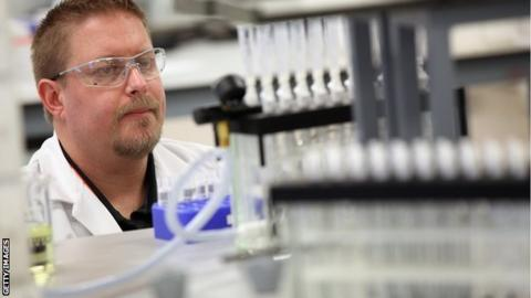 Analyst Damon Maheux works in the anti-doping laboratory which will test athlete's samples from the London 2012 Games