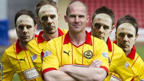 Partick Thistle captain Alan Archibald (centre) and team-mates