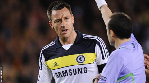 John Terry was sent off in the 37th minute against Barcelona