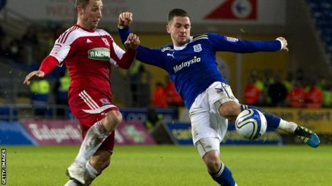 Andrew Taylor shoots on goal during Cardiff's home game against Middlesbrough earlier in the season